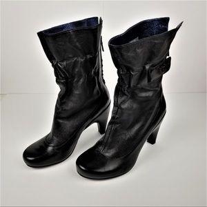 Womens Zip-up High Heel Boots- Black- 7